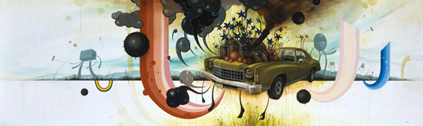 Jeff  Soto -  <strong>California Ice Age</strong> (2006<strong style = 'color:#635a27'></strong>)<bR /> Acrylic on canvas,   120 x 36 inches