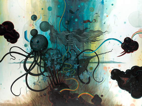 Jeff  Soto -  <strong>The Nina Shipwrecked</strong> (2007<strong style = 'color:#635a27'></strong>)<bR /> Acrylic on wood,   36 x 48 inches