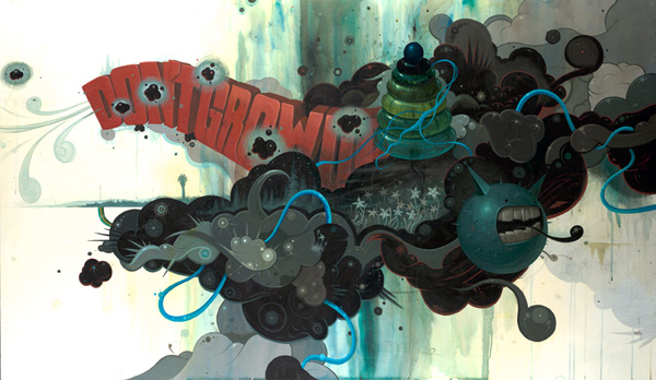 Jeff  Soto -  <strong>Don't Grow Up Too Fast</strong> (2007<strong style = 'color:#635a27'></strong>)<bR /> Acrylic on wood,   72 x 42 inches