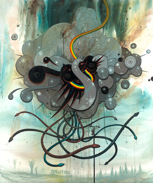 Jeff  Soto -  <strong>Snake Trap</strong> (2007<strong style = 'color:#635a27'></strong>)<bR /> Acrylic on wood,   30 x 36 inches