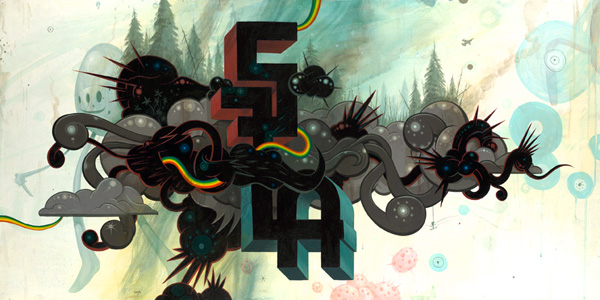 Jeff  Soto -  <strong>California Storm Clouds</strong> (2007<strong style = 'color:#635a27'></strong>)<bR /> Acrylic on wood,   48 x 24 inches