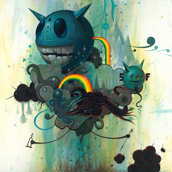 Jeff  Soto -  <strong>Thunderclouds Over a Flower</strong> (2007<strong style = 'color:#635a27'></strong>)<bR /> Acrylic on wood,   30 x 30 inches