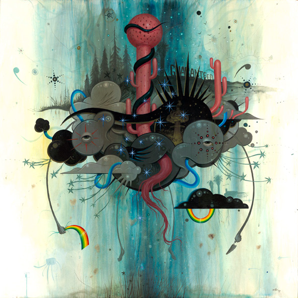 Jeff  Soto -  <strong>We Can Change Everything</strong> (2007<strong style = 'color:#635a27'></strong>)<bR /> Acrylic on wood,   30 x 30 inches