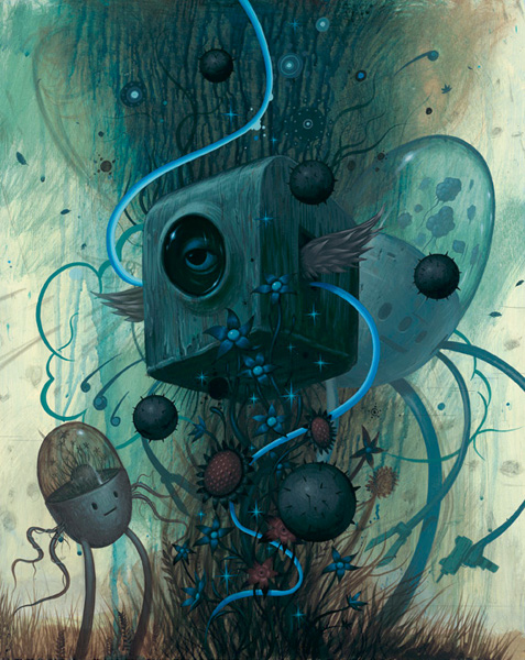 Jeff  Soto -  <strong>Floating in the Garden</strong> (2007<strong style = 'color:#635a27'></strong>)<bR /> Acrylic on wood,   24 x 30 inches