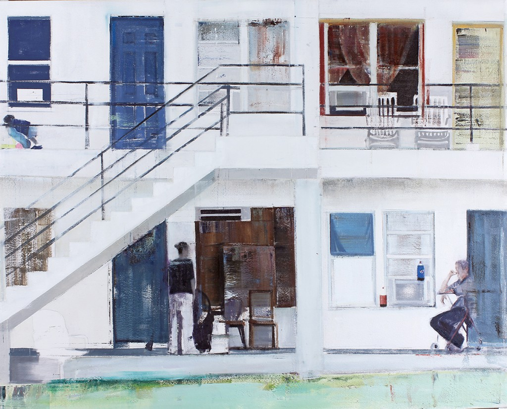Brett  Amory -  <strong>Overtown (Waiting #218)</strong> (2014<strong style = 'color:#635a27'></strong>)<bR /> oil on canvas,   48 x 60 inches  (121.92 x 152.4 cm)