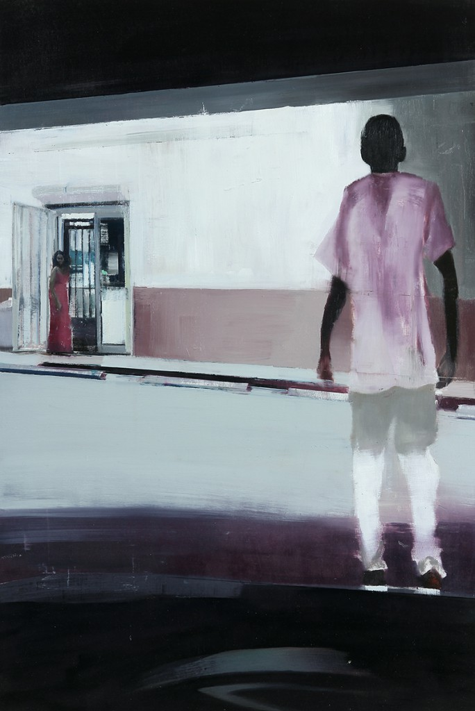 Brett  Amory -  <strong>Waiting #226</strong> (2014<strong style = 'color:#635a27'></strong>)<bR /> oil on wood,   24 x 36 inches  (90.96 x 91.44 cm)