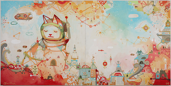Souther  Salazar -  <strong>1000 Ways to Escape</strong> (2009<strong style = 'color:#635a27'></strong>)<bR /> mixed media on wood panel,   5 x 10 feet,   (each panel 5 x 5 feet)