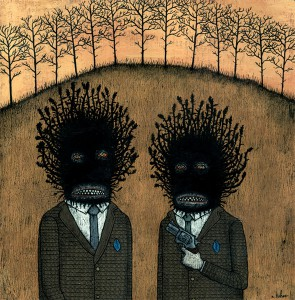 Andy  Kehoe -  <strong>Fear the Tax Agents</strong> (2007<strong style = 'color:#635a27'></strong>)<bR /> Acrylic and griffin on cradleboard,   12 x 12 inches
