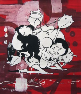 Alex  Hornest -  <strong>10</strong> (<strong style = 'color:#635a27'></strong>)<bR /> Acrylic and Spray Paint on Canvas,   37 x 31 inches