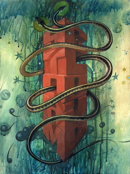 Jeff  Soto -  <strong>Storm Clouds for Slinky</strong> (2007<strong style = 'color:#635a27'></strong>)<bR /> acrylic on wood,   24 x 18 inches