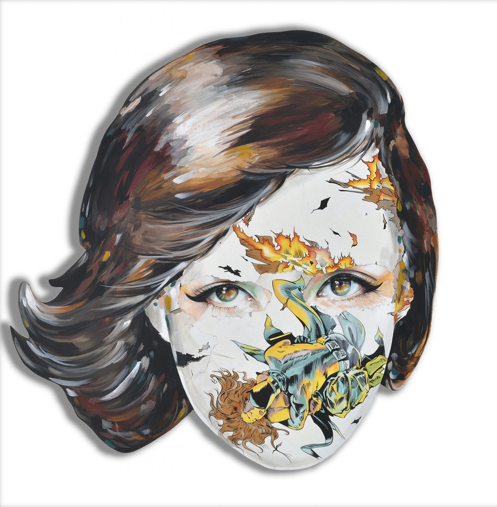 Sandra  Chevrier -  <strong>La Cage immunisé à ses charmes</strong> (2015<strong style = 'color:#635a27'></strong>)<bR /> acrylic on hand-carved wood panel,   32 x 32 inches  (81.28 x 81.28 cm)