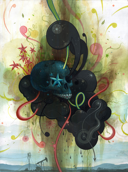 Jeff  Soto -  <strong>Death on Our Minds</strong> (2007<strong style = 'color:#635a27'></strong>)<bR /> Acrylic on wood,   24 x 18 inches