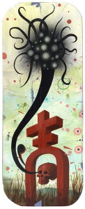 Jeff  Soto -  <strong>Ovum</strong> (2005<strong style = 'color:#635a27'></strong>)<bR /> Acrylic on Wood  24 x 9 inches