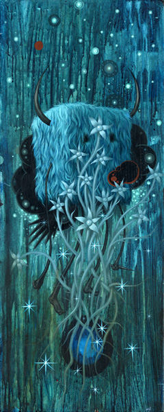 Jeff  Soto -  <strong>Uprooted Flowers</strong> (2007<strong style = 'color:#635a27'></strong>)<bR /> Acrylic on wood,   30 x 12 inches