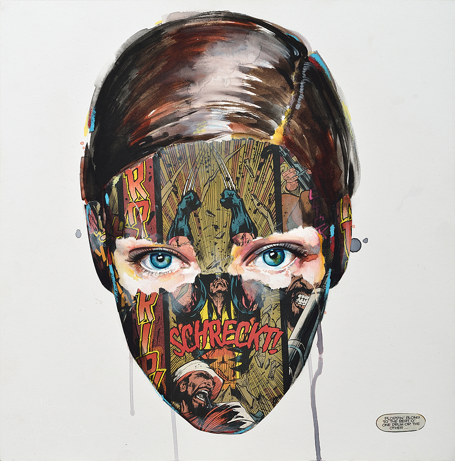 Sandra  Chevrier -  <strong>La Cage et le son du tambour</strong> (2015<strong style = 'color:#635a27'></strong>)<bR /> mixed media on paper mounted on wood panel,   16 x 16 inches  (40.64 x 40.64 cm)