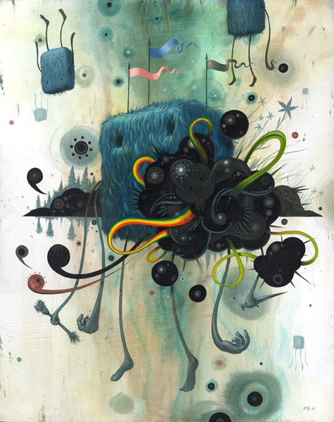 Jeff  Soto -  <strong>Hope Emerges from Behind a Cloud</strong> (2007<strong style = 'color:#635a27'></strong>)<bR /> Acrylic on wood,   24 x 30 inches