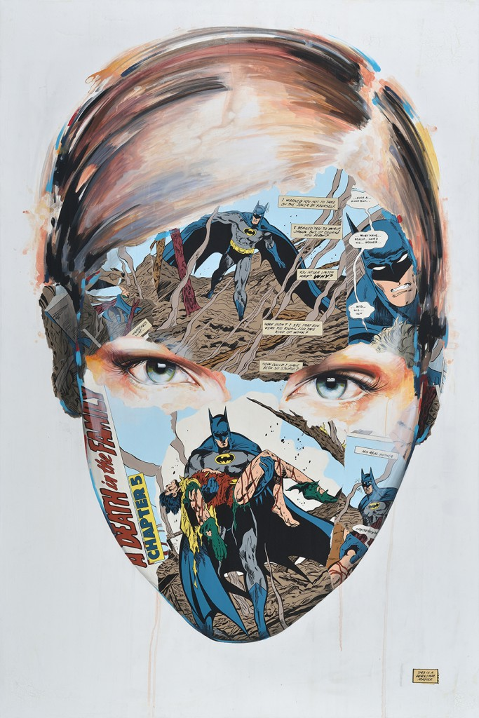 Sandra  Chevrier -  <strong>La Cage et le sang de la famille</strong> (2014<strong style = 'color:#635a27'></strong>)<bR /> acrylic on canvas,   72 x 48 inches  (182.88 x 121.92 cm)