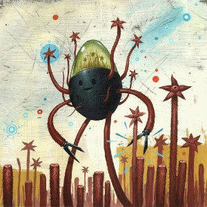 Jeff  Soto -  <strong>The Harvester</strong> (2005<strong style = 'color:#635a27'></strong>)<bR /> Acrylic on wood  12 x 12 inches