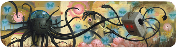 Jeff  Soto -  <strong>The Duel</strong> (2005<strong style = 'color:#635a27'></strong>)<bR /> Acrylic and mixed media on wood  12 x 45 inches