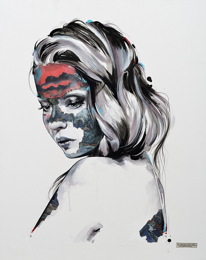 Sandra  Chevrier -  <strong>La Cage et la tempête</strong> (2015<strong style = 'color:#635a27'></strong>)<bR /> mixed media on paper mounted on wood panel,   24 x 19 inches  (60.96 x 48.26 cm)