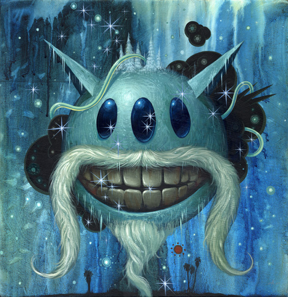 Jeff  Soto -  <strong>Water</strong> (2007<strong style = 'color:#635a27'></strong>)<bR /> Acrylic on wood,   18 x 18 inches