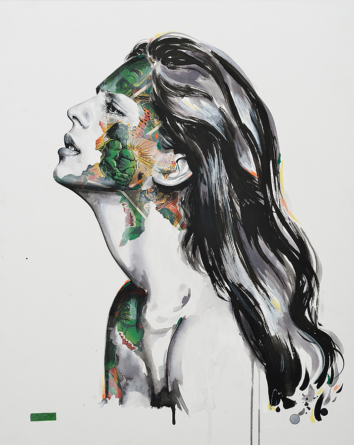 Sandra  Chevrier -  <strong>La Cage et la raison, la paix et l'Humanité</strong> (2015<strong style = 'color:#635a27'></strong>)<bR /> acrylic on paper mounted on wood panel,   24 x 19 inches  (60.96 x 48.26 cm)