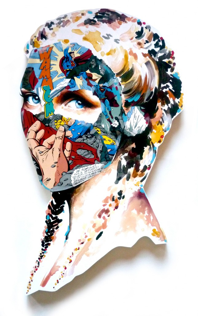 Sandra  Chevrier -  <strong>La Cage qui tend la main vers l'espoir</strong> (2015<strong style = 'color:#635a27'></strong>)<bR /> acrylic on hand-carved wood panel,   38 x 22 inches  (36.52 x 55.88 cm)