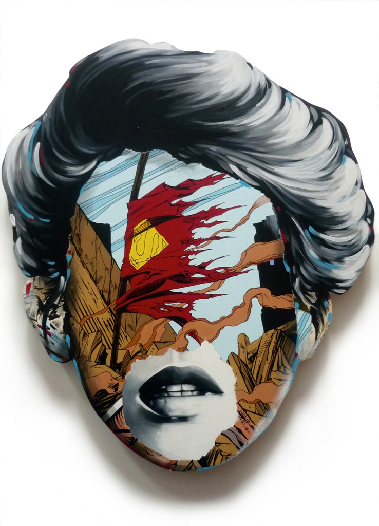 Sandra  Chevrier -  <strong>La Cage dans la fragilité de la vie</strong> (2015<strong style = 'color:#635a27'></strong>)<bR /> acrylic on hand-carved wood panel,   30 x 25 inches  (76.2 x 63.5 cm)