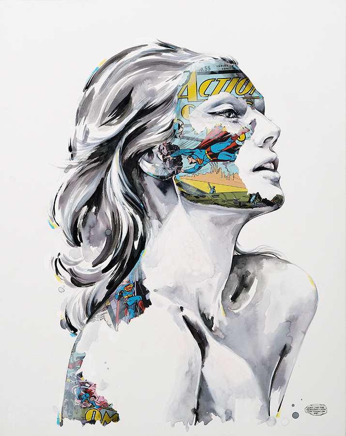Sandra  Chevrier -  <strong>La Cage comme les saisons</strong> (2015<strong style = 'color:#635a27'></strong>)<bR /> mixed media on paper mounted on wood panel,   24 x 19 inches  (60.96 x 48.26 cm)