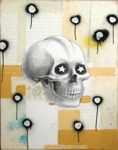 Jeff  Soto -  <strong>Skully</strong> (2004<strong style = 'color:#635a27'></strong>)<bR /> Acrylic and Graphite on Wood  32 x 24 inches