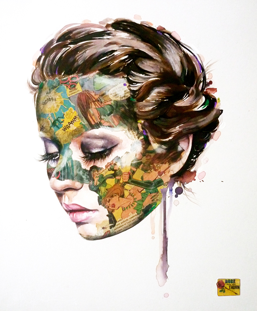 Sandra  Chevrier -  <strong>La Cage, la Rose et les épines</strong> (2015<strong style = 'color:#635a27'></strong>)<bR /> mixed media on paper mounted on wood panel,   14 x 17 inches  (35.56 x 43.18 cm)