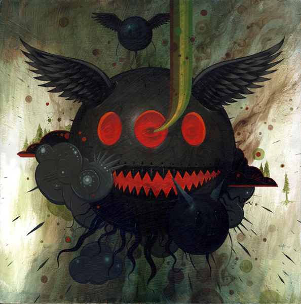 Jeff  Soto -  <strong>Fire</strong> (2007<strong style = 'color:#635a27'></strong>)<bR /> Acrylic on Wood,   18 x 18 inches