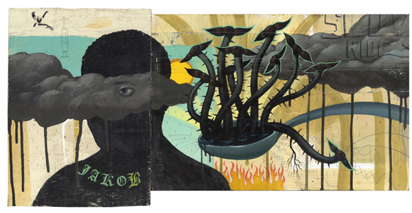 Jeff  Soto -  <strong>Jakob</strong> (2004<strong style = 'color:#635a27'></strong>)<bR /> acrylic on wood,   13 x 26.5 inches   (33.02 x 67.31 cm)