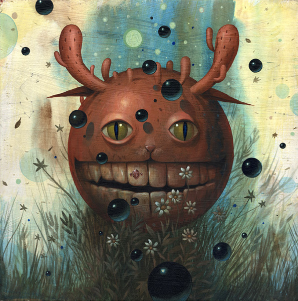 Jeff  Soto -  <strong>Earth</strong> (2007<strong style = 'color:#635a27'></strong>)<bR /> Acrylic on Wood,   18 x 18 inches