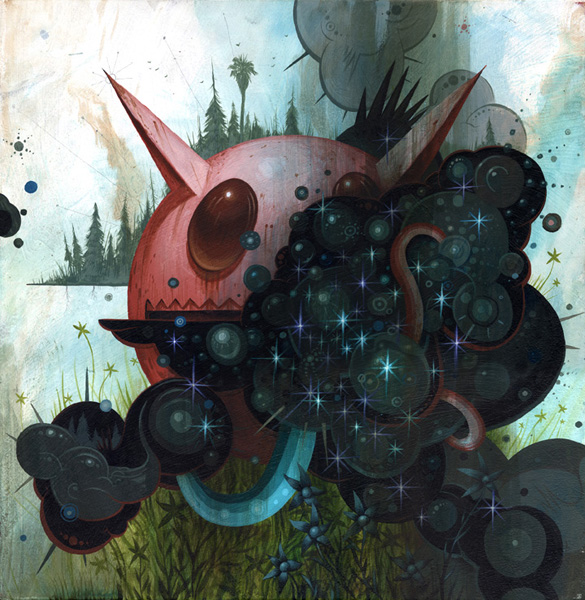 Jeff  Soto -  <strong>Wind</strong> (2007<strong style = 'color:#635a27'></strong>)<bR /> Acrylic on Wood,   12 x 12 inches