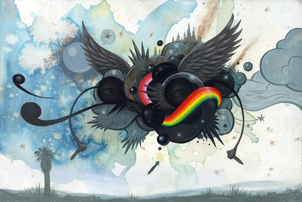 Jeff  Soto -  <strong>War Cloud</strong> (2007<strong style = 'color:#635a27'></strong>)<bR /> Acrylic on Wood,   12 x 18 inches