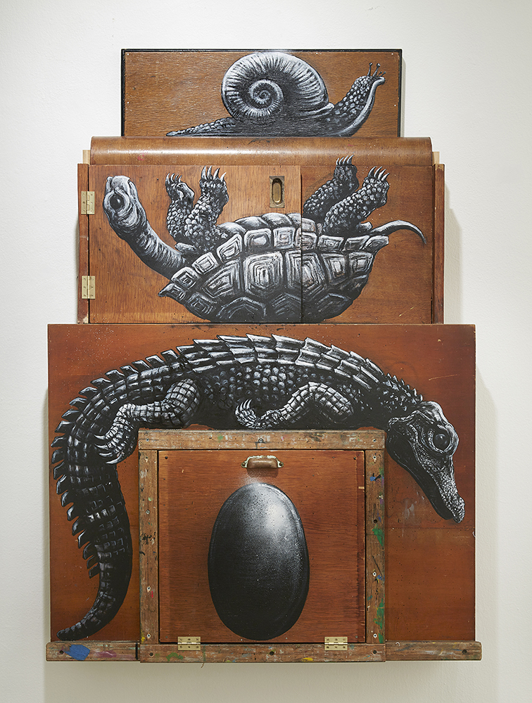 Roa      -  <strong>Composition III: Alligatoridae, Testudinidae, Gastropoda</strong> (2015<strong style = 'color:#635a27'></strong>)<bR /> mixed media,   59 x 48 x 3 inches  (149.86 x 121.92 x 7.62 cm)