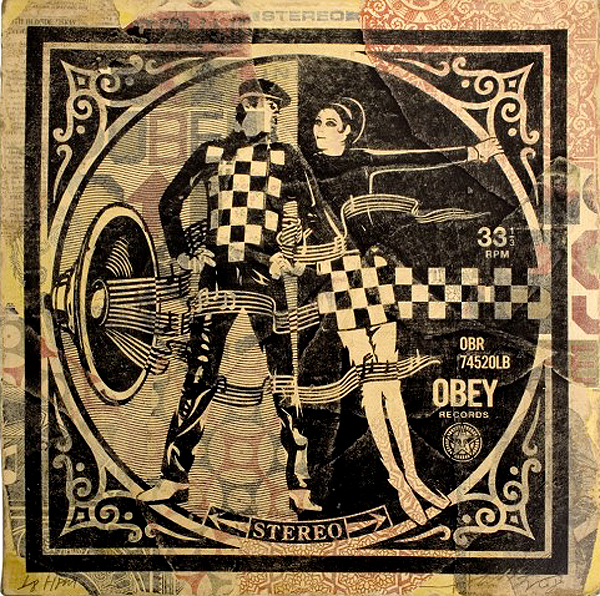 "Shepard  Fairey -  <strong>Two Tone</strong> (2008<strong style = 'color:#635a27'></strong>)<bR /> <font size=""2"">Hand Painted Multiple</font>,   <font size=""2"">Silkscreen Collage on Album Cover</font>,   <font size=""2"">Edition 5/8</font>,   <font size=""2"">12 x 12 inches</font>"