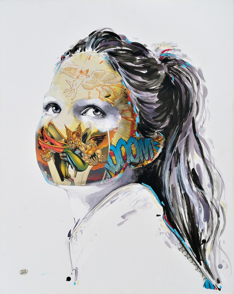 Sandra  Chevrier -  <strong>La Cage qui croit en sa destiné</strong> (2014<strong style = 'color:#635a27'></strong>)<bR /> mixed media on paper mounted on wood panel,   24 x 19 inches  (60.96 x 48.26 cm)