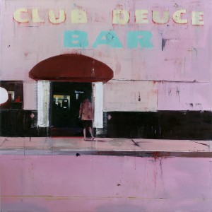 Brett  Amory -  <strong>Club-Deuce (Waiting #220)</strong> (2014<strong style = 'color:#635a27'></strong>)<bR /> oil on canvas,   48 x 48 inches  (121.92 x 121.92 cm)