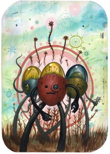 Jeff  Soto -  <strong>Tres Flores</strong> (2005<strong style = 'color:#635a27'></strong>)<bR /> Acrylic on wood  24 x 17 inches