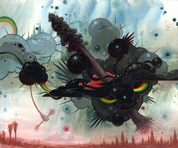 Jeff  Soto -  <strong>Planting Trees</strong> (2007<strong style = 'color:#635a27'></strong>)<bR /> Acrylic on Wood,   24 x 20 inches