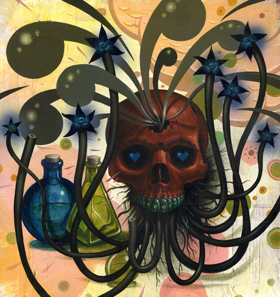 Jeff  Soto -  <strong>Happy and Sad at the Same Time</strong> (2005<strong style = 'color:#635a27'></strong>)<bR /> Acrylic on Wood  19 1/2 x 18 1/2 inches
