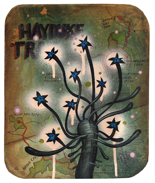 Jeff  Soto -  <strong>Hayduke Flowers</strong> (2005<strong style = 'color:#635a27'></strong>)<bR /> Acrylic on Wood  12 x 10 inches