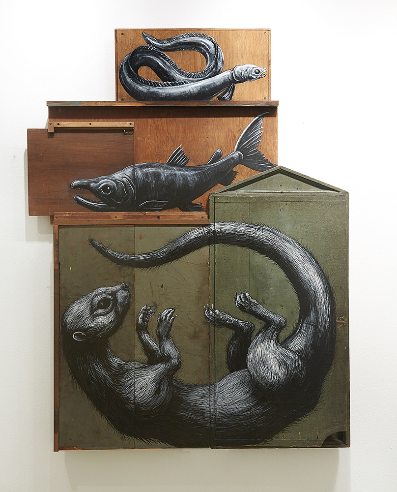 Roa      -  <strong>Composition II: Lutrinate, Salmonidae, Anguilliformes</strong> (2015<strong style = 'color:#635a27'></strong>)<bR /> mixed media,   64.75 x 49.75 x 5 inches  (164.47 x 126.37 x 12.7 cm)