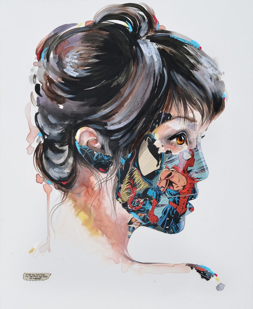 Sandra  Chevrier -  <strong>La Cage quand la peur s'est envolée</strong> (2014<strong style = 'color:#635a27'></strong>)<bR /> mixed media on paper mounted on wood panel,   17 x 24 inches  (43.18 x 60.96 cm)
