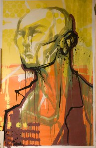 Hamilton  Yokota (Titi Freak) -  <strong>Man in Yellow</strong> (2006<strong style = 'color:#635a27'></strong>)<bR /> Mixed Media on Canvas,   62 x 39 1/2 inches