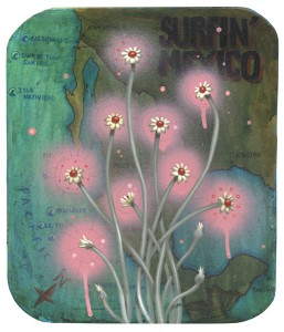 Jeff  Soto -  <strong>Mexican Flowers</strong> (2005<strong style = 'color:#635a27'></strong>)<bR /> Acrylic on wood  12 x 10 1/4 inches