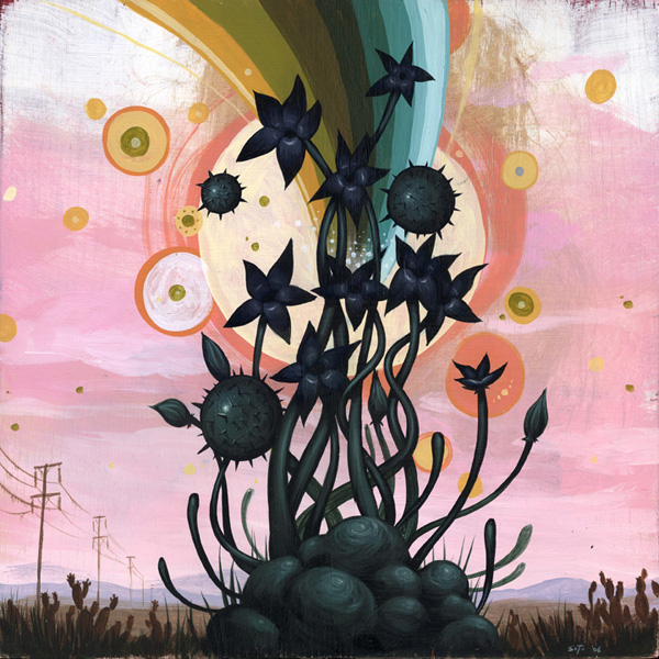 Jeff  Soto -  <strong>Spring</strong> (2006<strong style = 'color:#635a27'></strong>)<bR /> Acrylic on wood  18 x 18 inches