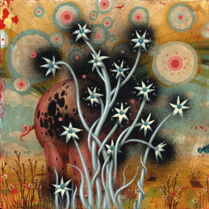 Jeff  Soto -  <strong>Wild Overgrowth</strong> (2005<strong style = 'color:#635a27'></strong>)<bR /> Acrylic on Wood  12 x 12 inches